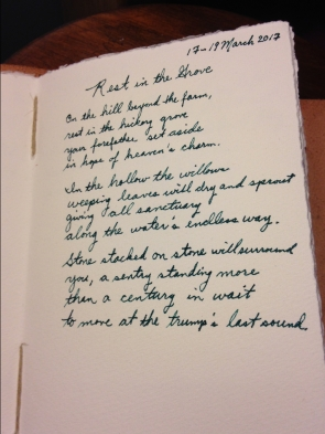 A draft of the poem in the red journal